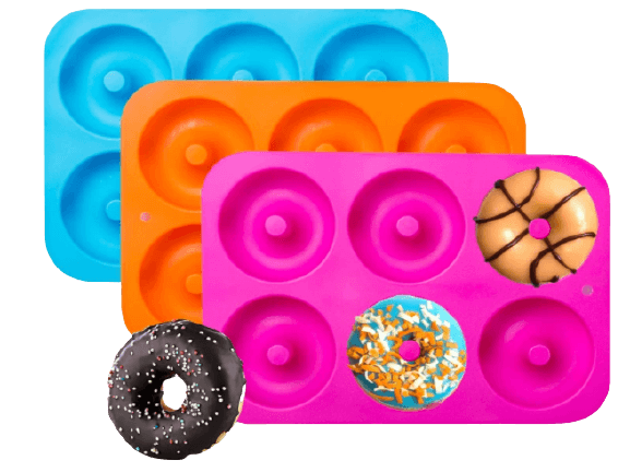 3-Pack Silicone Donut Baking Pan of 100% Nonstick Silicone