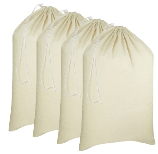 COTTON CRAFT - 4 Pack Extra Large Cotton Canvas Heavy Duty Laundry Bags