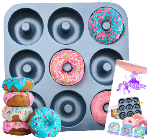 Large Non-Stick 100% LFGB Grade Silicone Donut Pan, Makes 9 Full Size Donuts, Oven, Dishwasher and Freezer Safe Donut