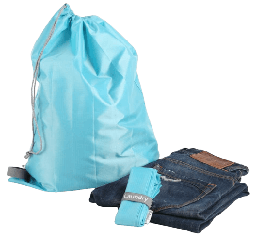 Travel Nylon Laundry Bag with Drawstring Closure / Foldable, Compact, Lightweight, Small Travel Size